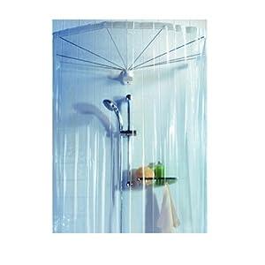Spirella ombrella clear 1004436 telaio a ombrello per doccia con tenda doccia 200x170 cm - Tende da doccia ...