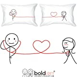 BOLDLOFT My Heart Beats for You Couples Pillowcases-Christmas Gifts for His & Hers,Him,Husband,Boyfriend,Valentine's Day,2nd Anniversary,Dating,Thinking of You