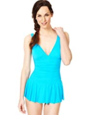 Tummy Control Ruched Skirt Swimsuit
