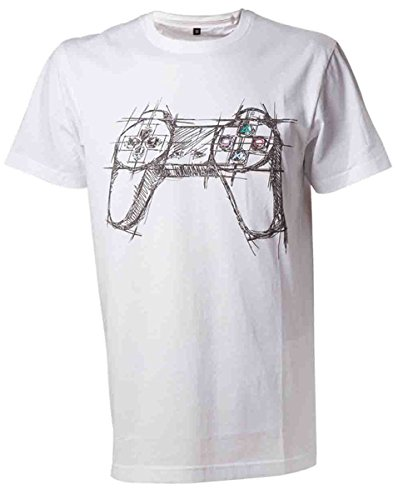 PLAYSTATION White Controller-T-shirt  Uomo    bianco Medium