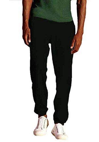 Pantalone Tuta Cotone Uomo Con Fondo Stretto Fruit Of The Loom Pantaloni Felpati, Colore: Nero, Taglia: S