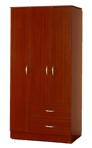 Wardrobe Bedroom Armoire With 3 Doors And 2 Drawers In
