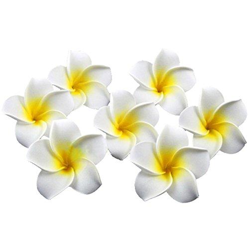 VORCOOL 100pz 6CM Fiore Hawaiane di Schiuma Plumeria Frangipani (Bianco + Giallo)
