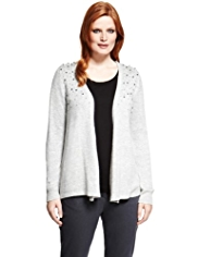 Plus Open Front Bead Embellished Cardigan with Wool