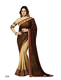 Aarti Latest Fashionable Party Wear Fancy Saree Bridal Embroidery Saree Wedding Wear Free Size - B00XA08I06