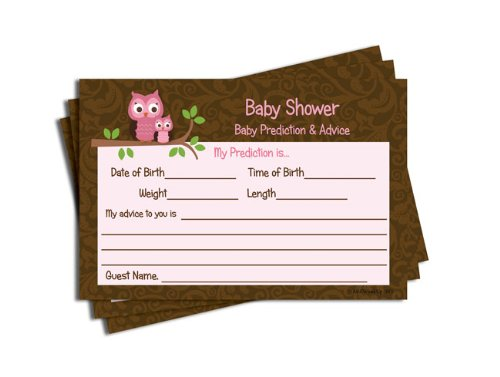 Baby Shower Advice & Prediction Cards for Mom Pink Owl Brown Damask (50-cards)