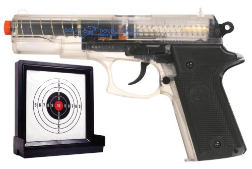 Spring Powered Airsoft Pistol with Target (Clear)