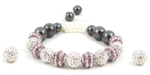 11-Ball White & Double Row Purple White Bead Shamballa Bracelet on White String + White Earring Pair