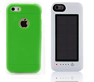 White Iphone 5c 2600Mah Solar charger V3.0 with a choice of Pink Blue Green Black or Yellow Armour cases Solar Charging case with rechargeable power pack included 2 piece kit Back up (Green)