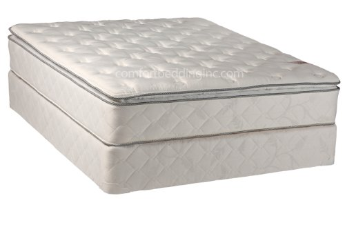 Comfort Bedding Pillowtop Plush Single Sided 10-Inch Innerspring Mattress Set With Box, Queen