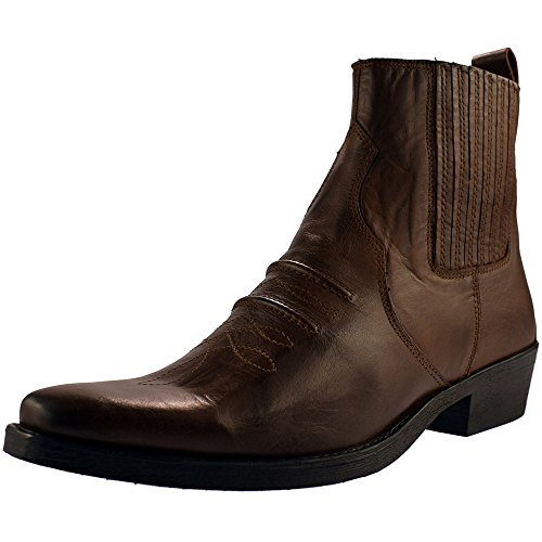mens-gringos-gusset-western-cowboy-ankle-boots-brown-distressed-leather-size-8
