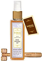 BodyHerbals stress relief, Natural Lavender & Vanilla Cold Pressed Body Massage Oil (100ml) Natural Wooden Massager, Beauty, Skin Care
