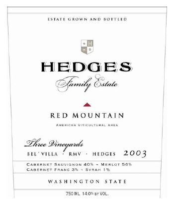 2003 Hedges Family Estate Red Mountain 750 Ml