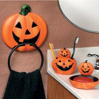 4 pc pumpkin jack o lantern halloween bathroom accessories set - Halloween Bathroom Sets