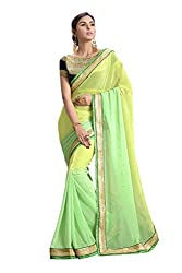 RUDDHI WOMEN'S DESIGNER SHADED GREEN & YELLOW FASHION GEORGETTE SAREE