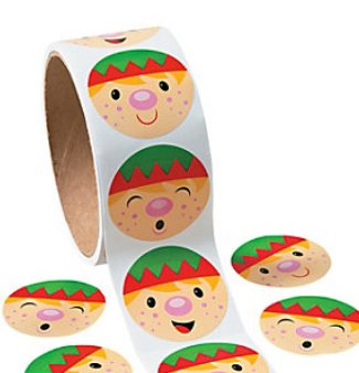CHRISTMAS HOLIDAY SANTA'S ELF STICKERS - 1 Roll (100 Ct.). - 1