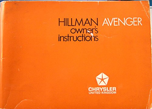 Hillman Avenger Owner's Instructions