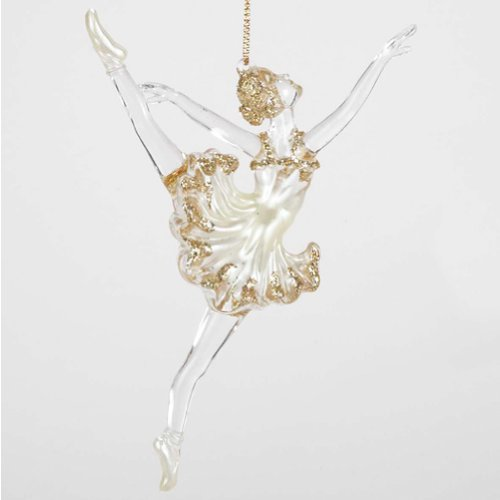 Ballerina Ornament Clear n Gold Acrylic Ornament T0830-A Kurt Adler
