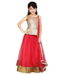 The Fashionup pink semistitched LenghaCholi for13-14 year Girls