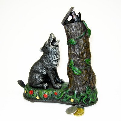 Design Toscano Wolf and Squirrel Collectors' Die Cast Iron Mechanical Coin Bank