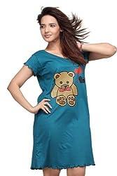 Clifton Womens Cotton Nightwear Top (Aaa00006886 _Blue _Large)