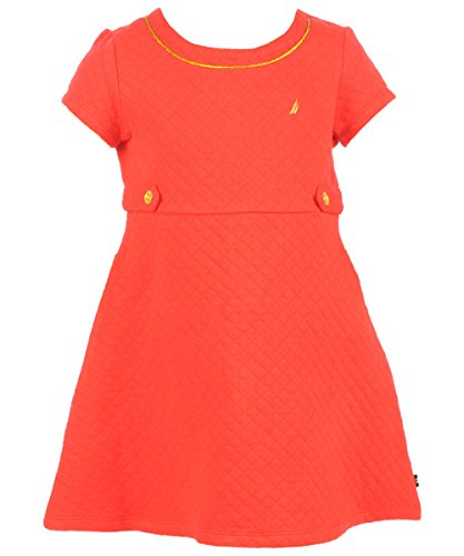 Nautica Little Girls' Quilted Knit Dress With Gold Accents, Dark Red, 2T back-1069446