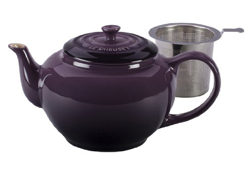 Le Creuset Stoneware Large Teapot With Stainless Steel Infuser, Cassis