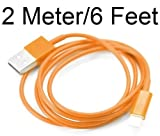 PractiCellular [TM]Data Charger Sync Cable Wire 8 Pin to USB For iPhone 5 5G 2M 2 Meter 6.5 Feet Foot Color (Black, Blue, Green, Orange, Magenta, Pink, Purple, Red, White, Yellow) (2M Orange)