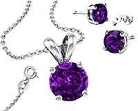 Birthstone 925 Sterling Silver Necklace Combo, Earrings, Pendantt and 18 Inch Rolo Chain CZ Amethyst by Made in U.S.A