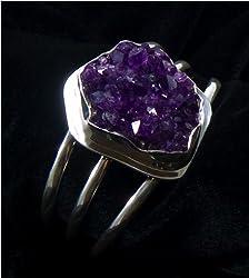 Silver Amethyst Cut Geode Bracelet | The Purple Store, LLC