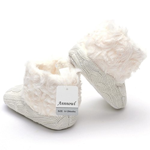 Annnowl Baby Girls Knit Soft Fur Winter Warm Snow Boots Crib Shoes (6-12 Months, White)