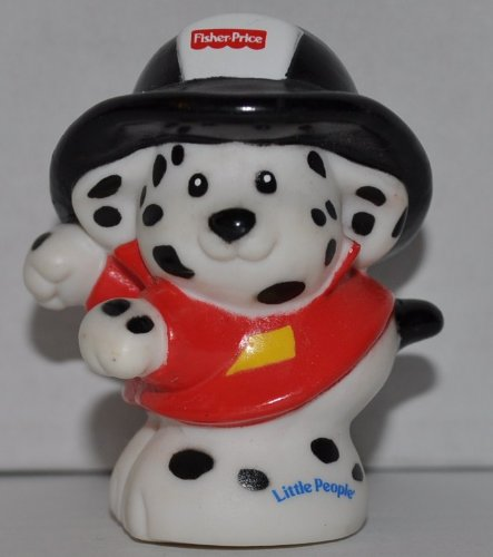 Little People Fire Fighter Dalmation Dog (2001) - Replacement Figure - Classic Fisher Price Collectible Figures - Loose Out Of Package (OOP) - Zoo Circus Ark Pet Castle - 1