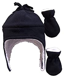 N\'Ice Caps Boys Sherpa Lined Micro Fleece Pilot Hat and Mitten Set (3-6 Months, Infant - Black)