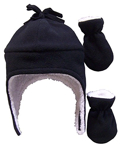 N'Ice Caps Boys Sherpa Lined Micro Fleece Pilot Hat and Mitten Set (3-6 Months, Infant - Black)