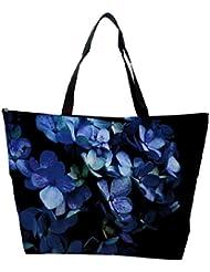Snoogg Blue Petal Flower Designer Waterproof Bag Made Of High Strength Nylon
