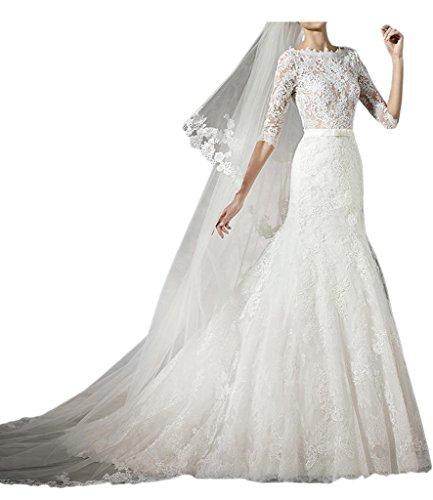 Victory Bridal 2016 Neu Elfenbein Langarm Spitze Hochzeitskleider ...