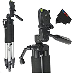 Professional 57-inch Tripod 3-way Panhead Tilt Motion with Built In Bubble Leveling for Sony Alpha DSLR SLT-A33, A35, A37, A55, A57, A58, A65, A77, A77 II, A99, A100, A200, A230, A290, A300, A330, A350, A380, A390, A450, A500, A560, A550, A700, A850 & A90