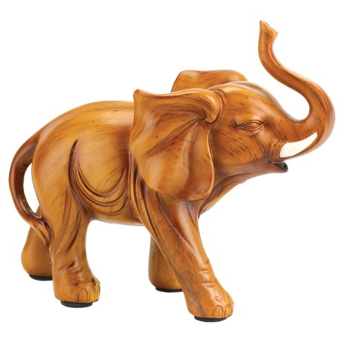 Gifts & Decor Lucky Elephant Wood Look Figurine Statue front-553481