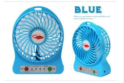 Portable 4 Inch 3-Level Speed Adjustable Mini USB Fan Air Cooler Table Mini Fan Desktop Fan Personal Fan with LED Lamp with 18650 Rechargeable 2200mAh Battery for Computer Home Office Car (Sky Blue) (Cooler Desk compare prices)