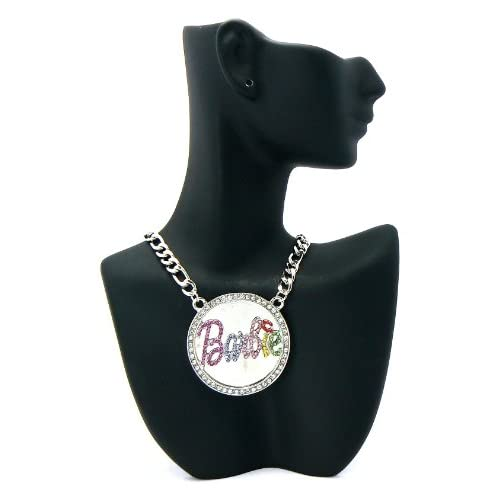Silver with Pink Iced Out Nicki Minaj Barbie Pendant with 20 Inch Link Necklace Chain