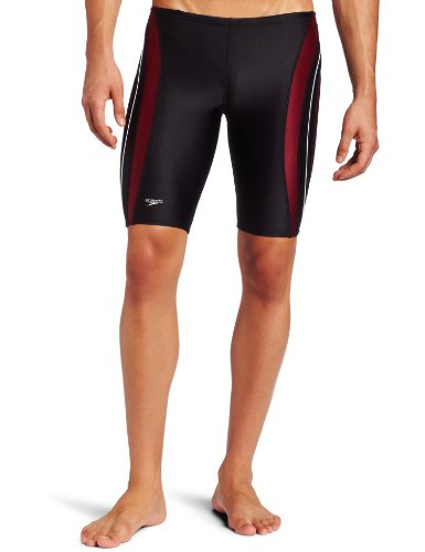 Speedo Men's Rapid Splice Xtra Life Lycra Jammer Swimsuit, Black/Maroon, 32 image