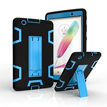 LG G Pad X 8.0 / G Pad III 8.0 Case,Rugged High Impact Hybrid Drop proof Armor Defender Protection Case Built in Kickstand for LG G Pad X 8.0 V521/G Pad III 8.0 V525 8-Inch Tablet (black+blue) (Lg G Pad Protective Case compare prices)