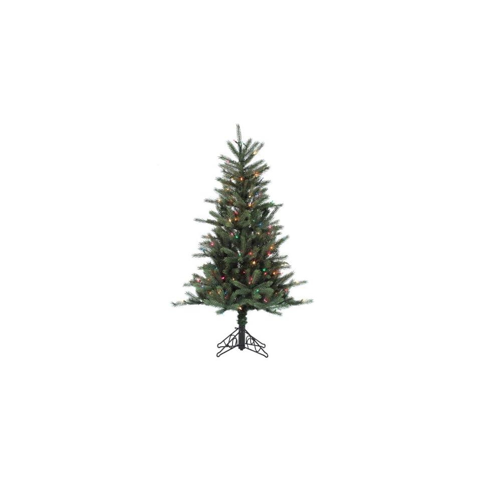 4.5 Pre Lit Tiffany Spruce Slim Artificial Christmas Tree   Multi Lights