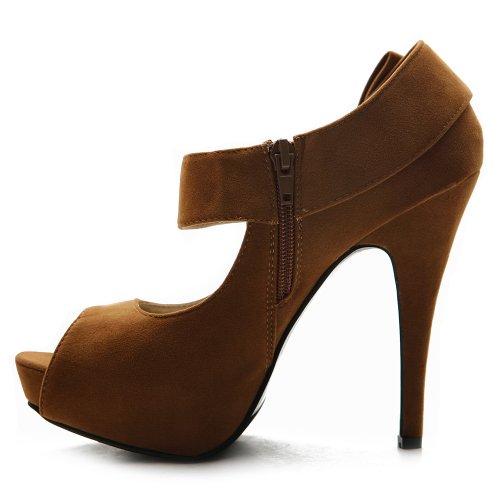 Ollio Women's Shoe Platform Open Toe High Heel Ribbon Accent Multi Color Pump (10, Brown)