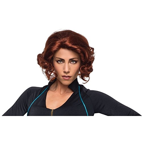 GSG Adult Black Widow Costume Wig Marvel Avengers Female Hero Fancy Dress ()