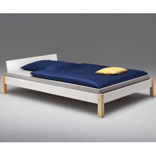 Cadres de lit lit double cadre de lit pin lasur blanc - Cadre de lit sans sommier ...