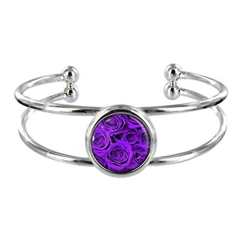 Rose-Bracciale placcato argento, colore: viola, in confezione regalo in Organza