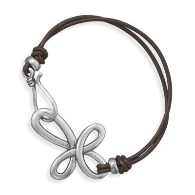 Double Strand Brown Leather Looped Cross Fashion Bracelet