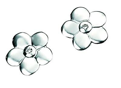 D for Diamond E3504 Sterling Silver Girls Diamond set Flower Stud Earrings