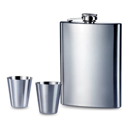Premier Housewares Hip Flask Set, 8 oz, Stainless Steel